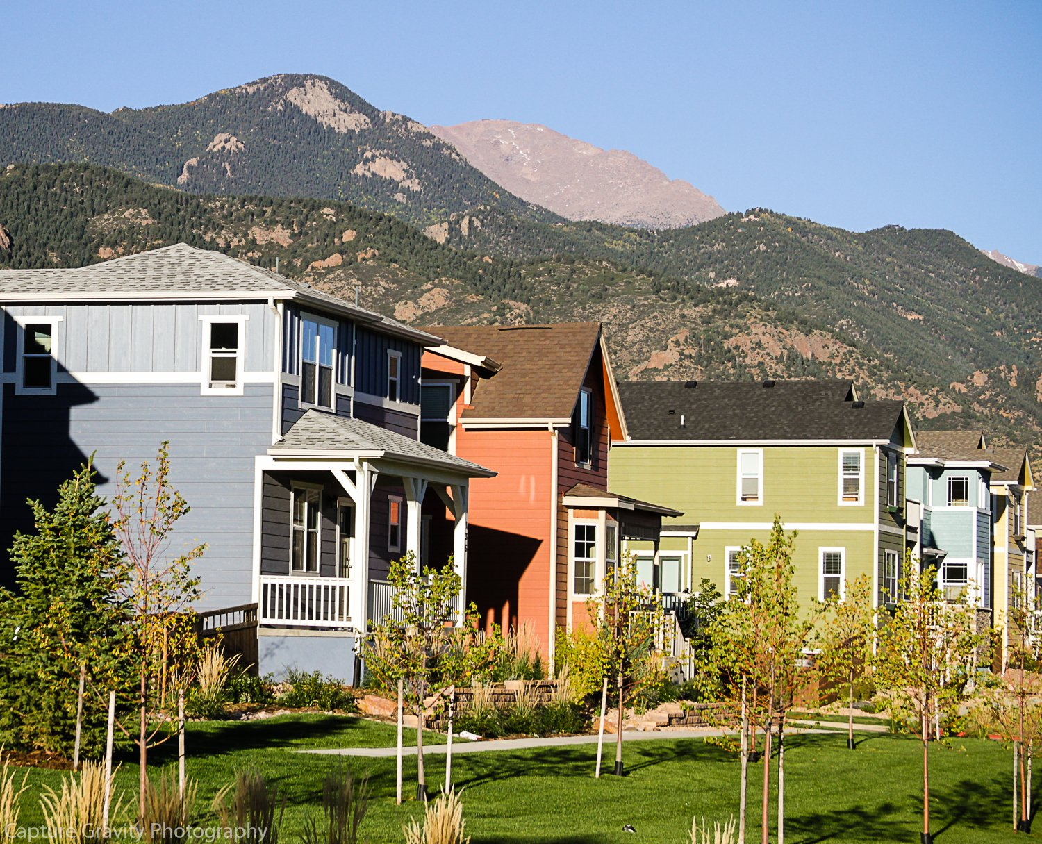 Homes with Pikes Peak in background